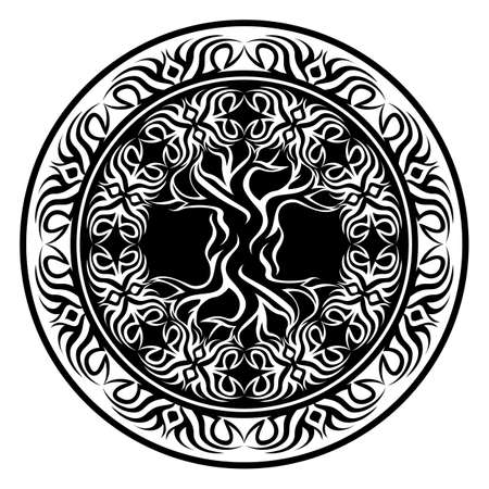 yggdrasil, tribal viking tree of life, in ornamental tribal round frame