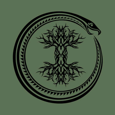 tribal ouroboros serpent curled up around yggdrasil, viking tree of life