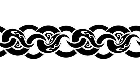 isolated black seamless braided ornament in old tribal celtic style Vetores