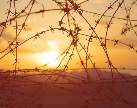 barbed wire against sunset in mountains at Israel-Egyptian border photo