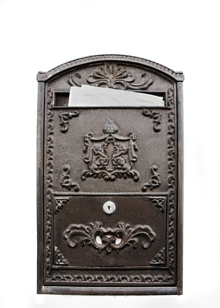 metal post: Old-fashion metal post box with mail