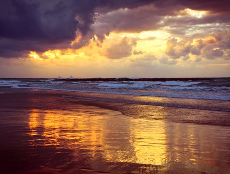 cover background time:  Tel-Aviv beach Israel, in the afternoon in winter