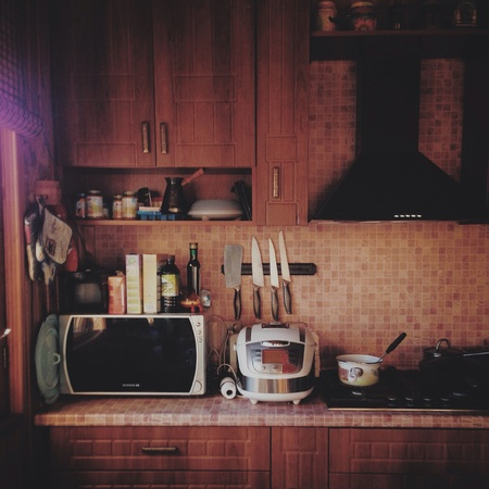 country kitchen: Kitchen view in a country-house in evening light