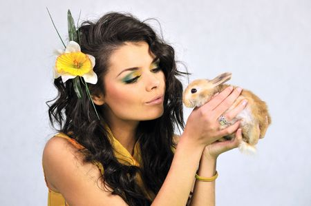 Easter rabbit and the girl photo