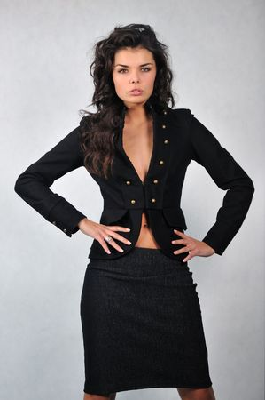 fullness: attractive sexy woman in a black business suit