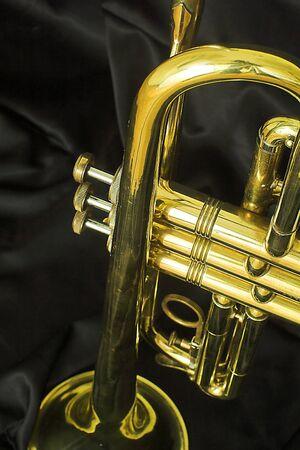 trompeta: Una trompeta de oro Foto de archivo