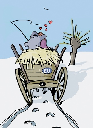 villager: A couple of villagers travel on the wagon full of  hay, embracing each other  Over them visible little cloud of red hearts, and on the rear board of the wagon – the EU plate