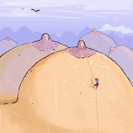 boobs: mountains of breasts and a little man climbing them  Illustration