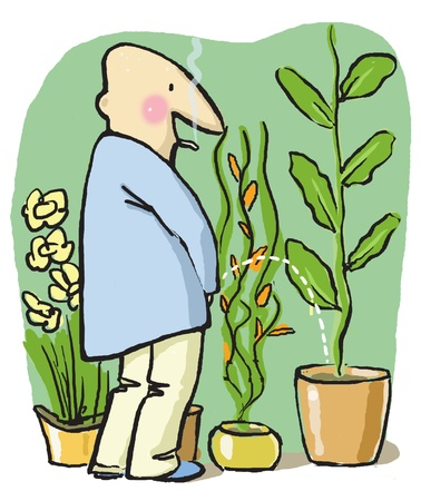 White man, urinating to the flower-pot in his flat, feels himself closer to the nature Stock Photo