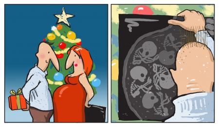 ultrasound scan: It is a comic strip  A couple on christmas eve  Both hold christmas gifts, he – a box and she, who is pregnant, an ultrasound scan  On the second image he looks at the scan in panic