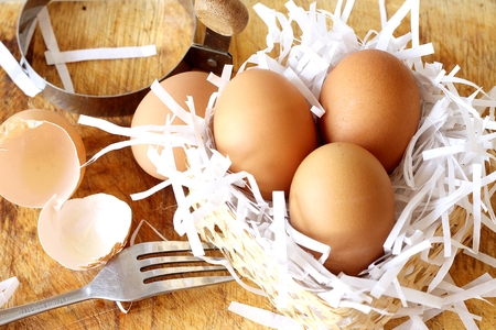 eggs on the woodblock Stock Photo