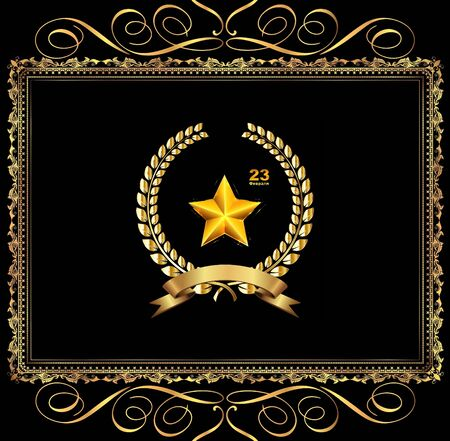 Gold star on a black background February 23