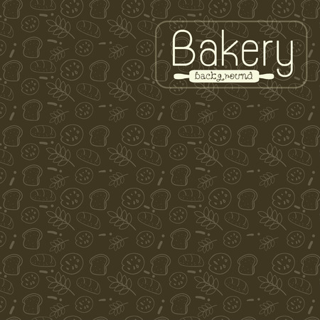 Vector illustration, wallpaper, background for coffee shops, bakery shops, pastry shops.Bread line drawing, rice grains, cookies On a green background.  イラスト・ベクター素材