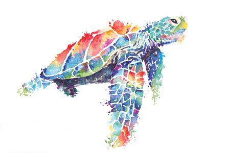 Illustration sea turtle painted with watercolors.The image of sea creatures swimming underwater world.