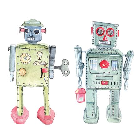Antique vintage retro robot tin toy painting with watercolors.Collections as a child. Illustration