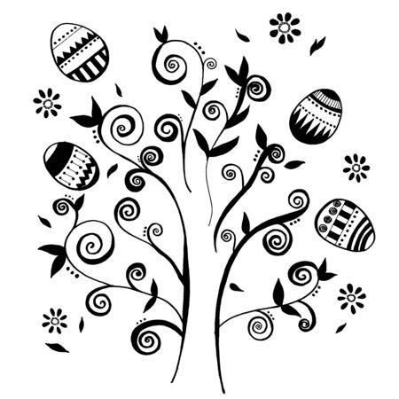honeysuckle: Hand-drawn Vector Easter eggs around tree and design element. Illustration
