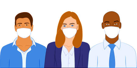 Group of business people wearing face mask against Corona Virus Pandemic for virus protection. Flat vector illustration in minimal style.