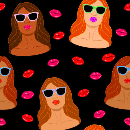 Colorful and Sexy Female faces of diverse color and ethnicity with pout lips and sunglasses, Seamless pattern. Women empowerment. Illustration