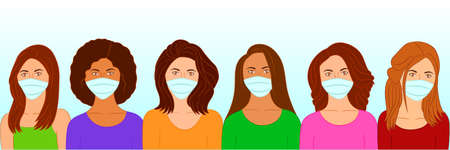 Group of beautiful women wearing medical masks to prevent corona virus disease, flu, air pollution. Vector illustration in a flat style