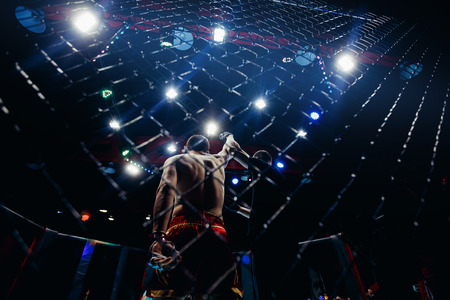 MMA, fighters participate in battles without rules. Athletes are fighting in the hexagon. Standard-Bild