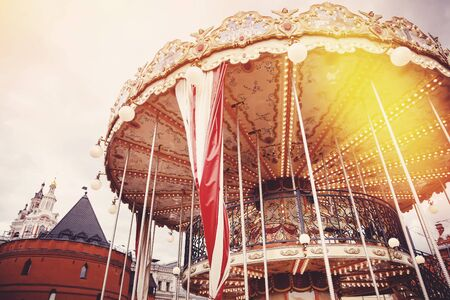 round chairs: Moscow, Russia- June 12, 2017: Carousel Merry-go-round horse in the red square