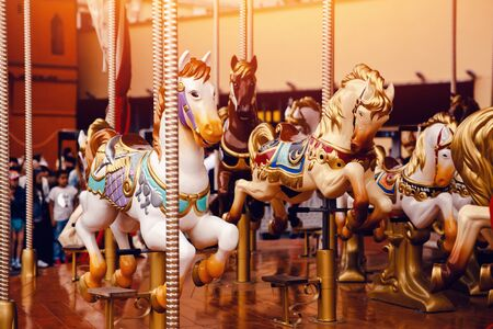 illustrative editorial: Moscow, Russia- June 12, 2017: Carousel Merry-go-round horse in the red square