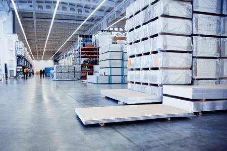 Logistics warehouse image Sawn timber. Drywall, dvp, chipboard, Stock Photo - 81150425
