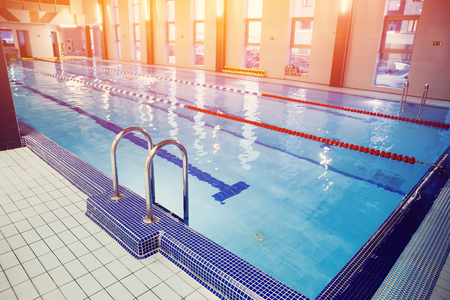 design of swimming pool in gym Stock Photo