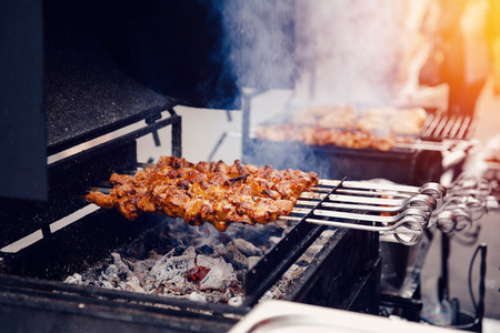 Moist hicken kebabs on the grill in nature. Concept of a family holiday in nature, a meat restaurant, a cafe, cooking meat