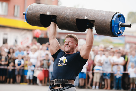 Osinniki, RUSSIA - July 28, 2017: Open festival on power extreme for Russian heroes bogatyrey.