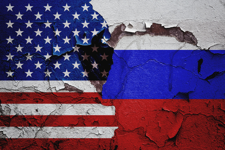 USA america and Russia relations between countries, abstract background of relationships.