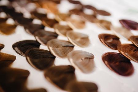 Palet met variaties op de haarkleur. Kleurrijke haartoonopties