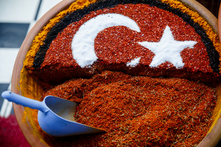 Grand Spice Bazaar, turkish spices for sale shops in Istanbul. Turkey flag