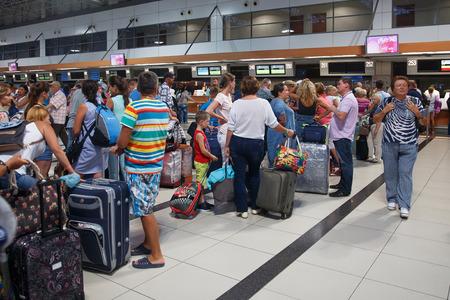 Antalya, Turkey - September 26, 2017: Antalya International Airport, Flight delay, people are waiting for flight