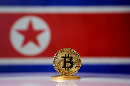 Bitcoin. Bitcoin on North Korea flag background