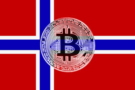 Bitcoin. Bitcoin on the Norway flag background
