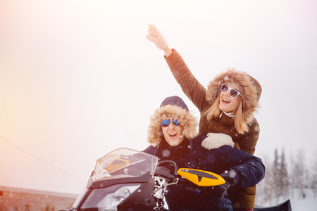 Lovers. Winter activities for the family. Concept winter, Christmas holidays. Standard-Bild
