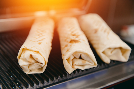 shaurma doner baked in an electric oven, concept restaurant fast food Stock Photo