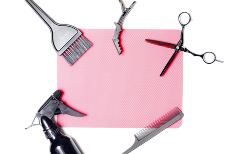 Hairdressing tools. Scissors, hair dryer, brush. Top view. Copyspace