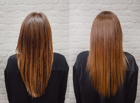Keratin hair . Hair before and after treatment.