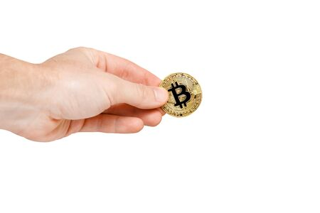 Bitcoin. Bitcoin with hand on isolated background