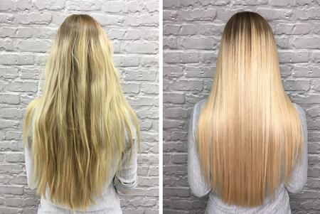 Krankes, geschnittenes und gesundes Haar. Haare vor und nach der Behandlung. Standard-Bild