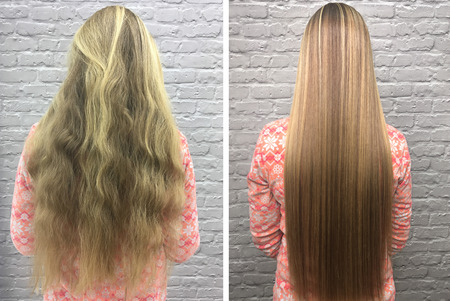 Sick, cut and healthy hair. Hair before and after treatment. Stock Photo - 92469863
