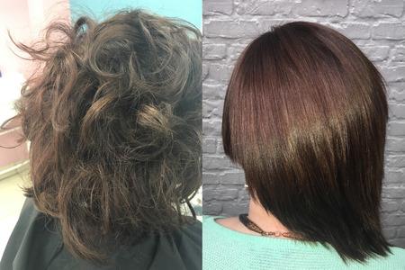 Ziek, gesneden en gezond haar. Haar voor en na de behandeling.