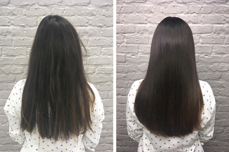 Sick, cut and healthy hair. Hair before and after treatment.