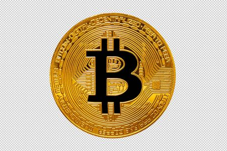 Bitcoin. Gold Bitcoin coin closeup on isolate background