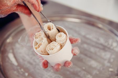 Ice cream roll. Thailand stir-fried ice cream rolls at freeze pan
