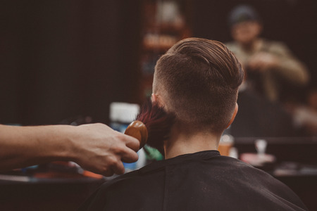 Barbershop. Brush hair with brush fot man 写真素材