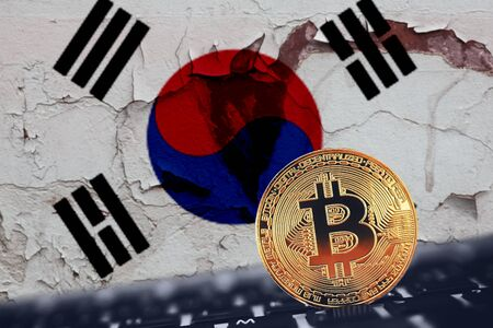 Bitcoin. Bitcoin on South Korea flag background broken, kaput