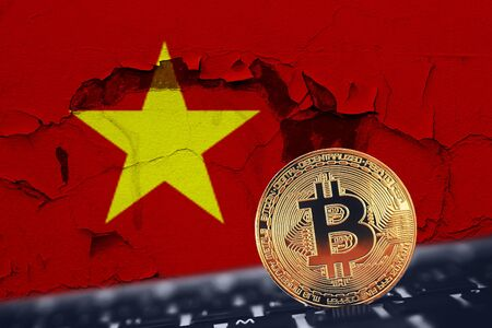 Bitcoin. Bitcoin on Vietnam flag background broken, kaput